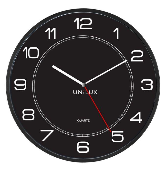 Seinakell UNILUX Mega, must; D-57,5cm/ koos patareiga