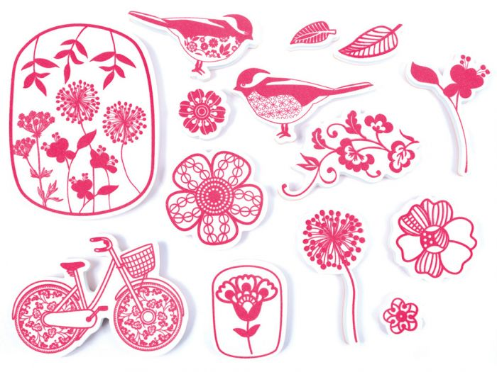 Tempel Aladine Stampo tekstiilile 14 tk. Flowers-lilled + templipadi must