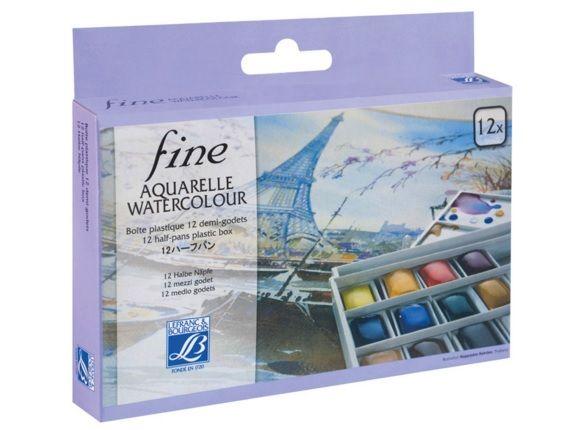 Akvarellvärv Fine 12 nööpi plastikkarbis