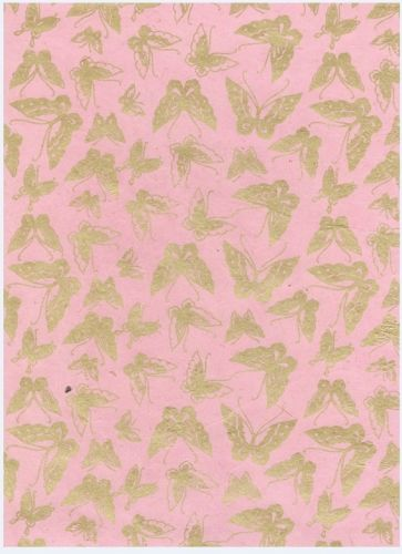 Nepaali paber A4 Butterfly Gold on Pink