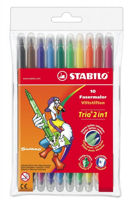 Viltpliiatsid Stabilo Trio 2 in1 kaheotsaga 0,5 ja 2 mm, 10värvi pakis
