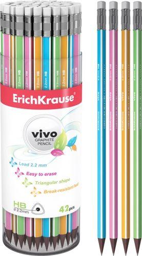 Harilik pliiats HB kustutuskummiga ,VIVO, kolmekandiline, Erich Krause