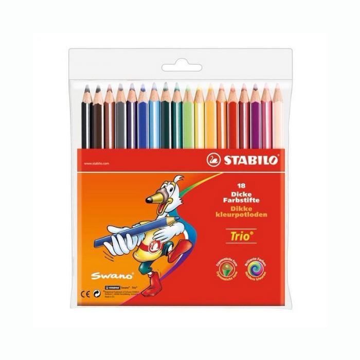 Värvipliiats Stabilo Trio, 18 värvi pakis, kolmekandiline