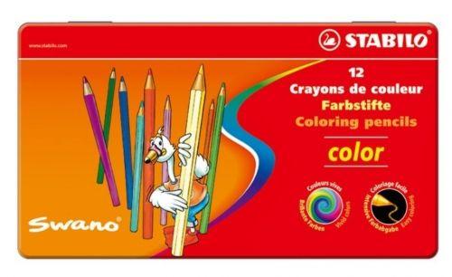 Värvipliiats Stabilo Swano metallkarbis ,12 värvi