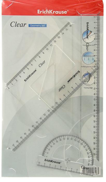 Koolikomplek ( joonlaud30cm,kolmnurgad 45` ja 60`, mall 180` ) läbipaistev , Erich Krause