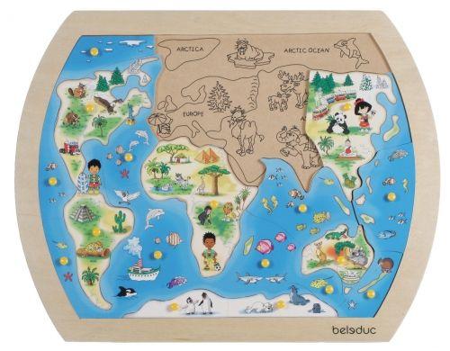Mosaiikpilt Maailm, puust, nuppudega, 21 osa, 42 x 33 cm, 3+