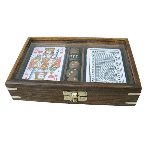 Mängukaardid ja täringud puidust karbis 14,5x12x4,5 cm, Merenodi