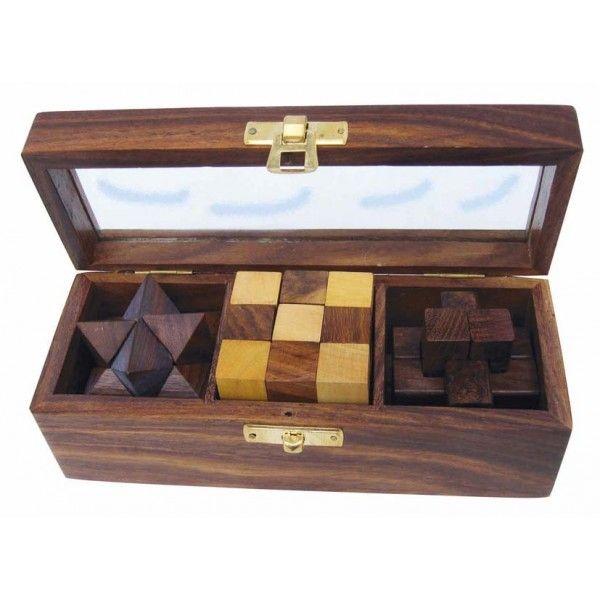 Puzzle, 3 tk. puidust karbis, 17,5x6,5x6 cm, Merenodi