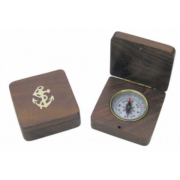 Kompass puidust karbis 6,5x6,5x2,5 cm ankruga, Merenodi