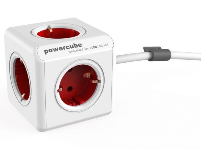Pikendusjuhe 3 meetrit allocacoc PowerCube Original Boston Red, 5 pesa, maandusega, peenike kaabel