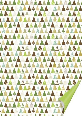 Käsitöökartong 50x70cm 300g Kuused, roheline/kuldne, Heyda