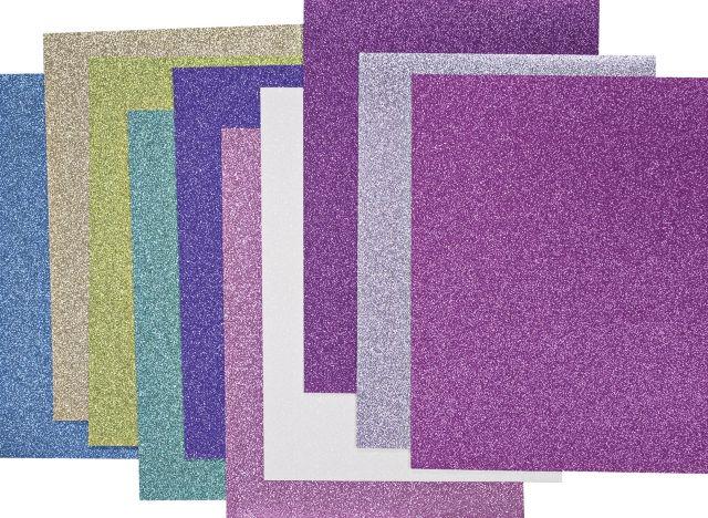 Käsitöökartong sädelev 1 A4 200g, 10 erinevat värvi pakis