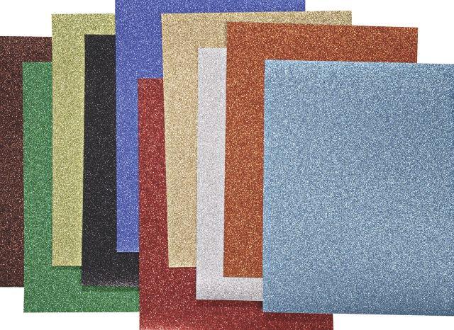 Käsitöökartong sädelev 2 A4 200g, 10 erinevat värvi pakis