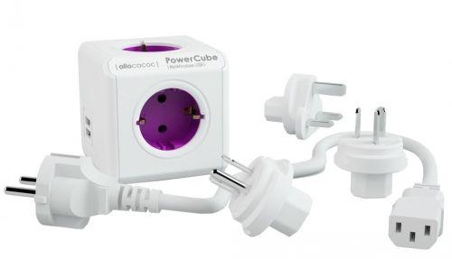 Harukarp allocacoc PowerCube ReWirable USB, 4 pesa, 2xUSB 2x2.1A, maandusega, 3x reisipistikut (UK,USA,AUS), EU pikenduskaabel
