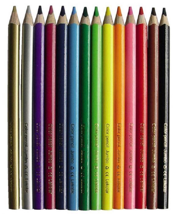Värvipliiats Lekolar Jumbo täiendkomplekt, hõbedane, 12 tk