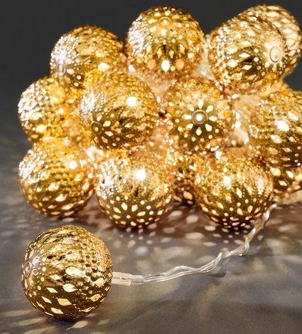 Valguskett, 24  D-4cm kuldset värvi metallist palli 24 ww LED tulega, L-600cm, IP20 trafo