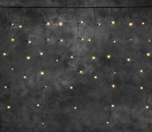 Jääpurika tüüpi valguskett 4811-807, 100 merevaik-kollast LED tuld, 31V/ L-250cm; must kaabel, jätkatav, lisada stardikomplekt 4800-007-õue