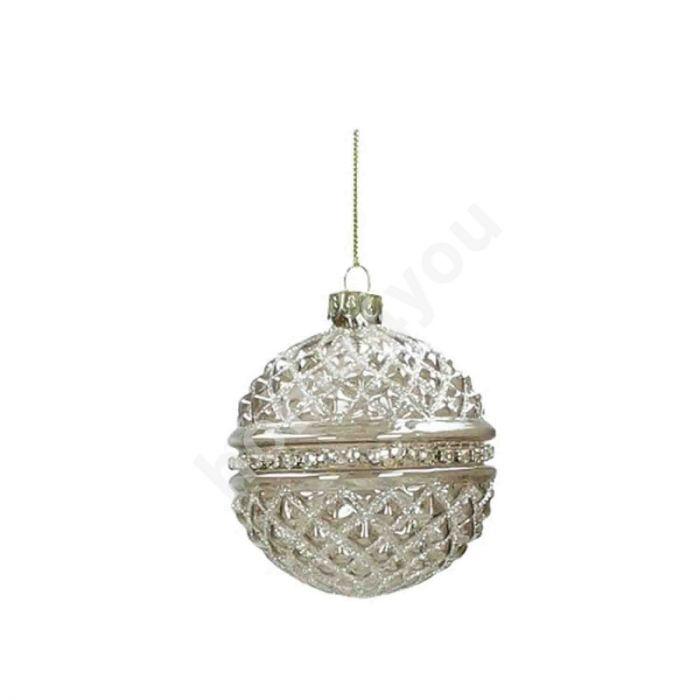 Jõuluehe ORNAMENT 8cm, pärlid, hall