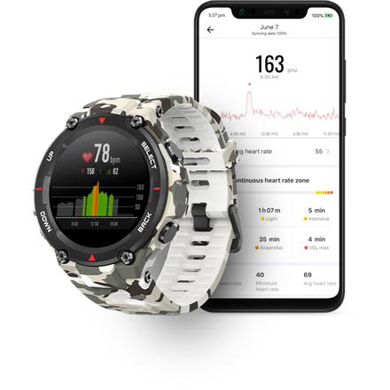 Amazfit T-Rex Smart watch, GPS (satellite), AMOLED Display, Touchscreen, Heart rate monitor, Activity monitoring 24/7, Waterproof, Bluetooth, Camo Green