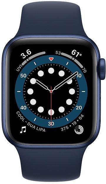 Apple Aluminium Case with Sport Band - Regular Series 6 GPS 40mm, Smart watch, GPS (satellite), LTPO OLED Retina, Touchscreen, Heart rate monitor, Waterproof, Bluetooth, Blue/Deep Navy