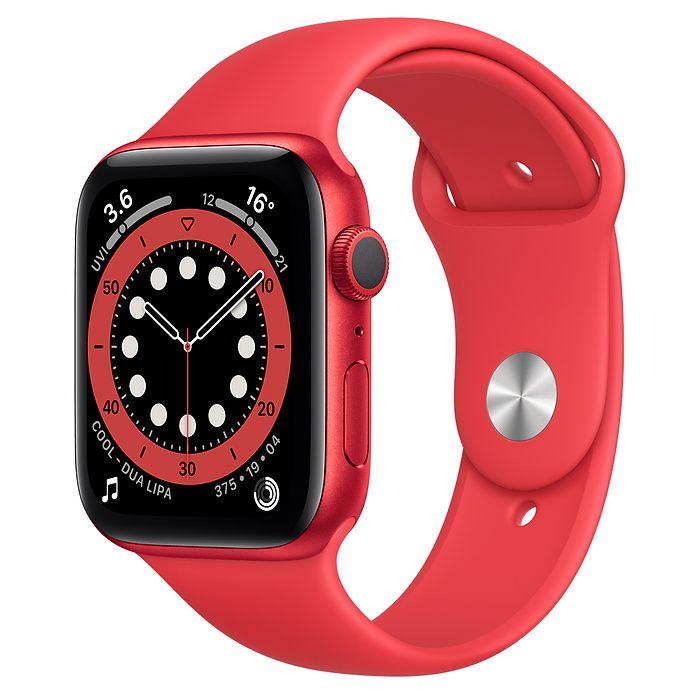 Apple Aluminium Case with Sport Band - Regular Series 6  44mm, Smart watch, GPS (satellite), LTPO OLED Retina, Touchscreen, Heart rate monitor, Waterproof, Bluetooth, Wi-Fi, Red