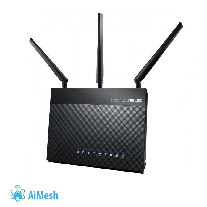Asus Router RT-AC68U 802.11ac, 600+1300 Mbit/s, 10/100/1000 Mbit/s, Ethernet LAN (RJ-45) ports 4, Mesh Support Yes, 3G/4G via optional USB adapter, Antenna type 3xExternal, 1xUSB 2.0/1xUSB 3.0, AiPro