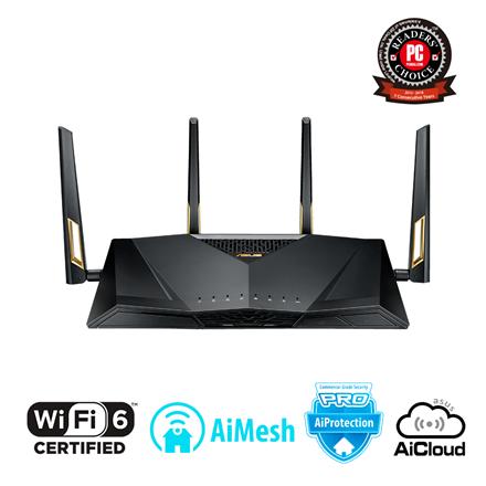 Asus Router RT-AX88U 802.11ax, 1148+4804 Mbit/s, 10/100/1000 Mbit/s, Ethernet LAN (RJ-45) ports 8, Mesh Support Yes, MU-MiMO Yes, 3G/4G via optional USB adapter, Antenna type 4xExternal, 2xUSB 3.1 Ge