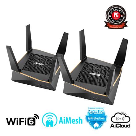Asus Router RT-AX92U 2PK 802.11ax, 400+ 867+ 4804 Mbit/s, 10/100/1000 Mbit/s, Ethernet LAN (RJ-45) ports 4, Mesh Support Yes, MU-MiMO Yes, 3G/4G via optional USB adapter, Antenna type 4xExternal, 2xI