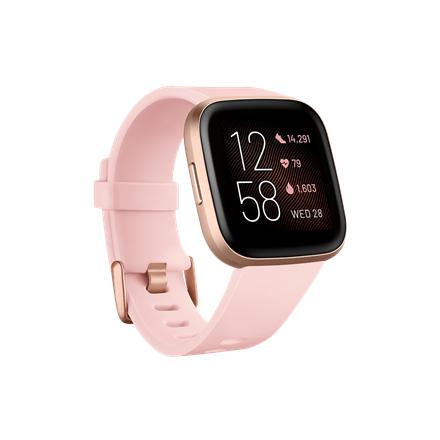 Fitbit Versa 2 Smart watch, NFC, OLED, Touchscreen, Heart rate monitor, Activity monitoring 24/7, Waterproof, Bluetooth, Wi-Fi, Petal/Copper Rose Aluminum