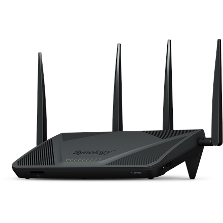 Synology Router RT2600ac 802.11ac, 2533 Mbit/s, 10/100/1000 Mbit/s, Ethernet LAN (RJ-45) ports 4, Mesh Support Yes, MU-MiMO Yes, Antenna type External, 1x USB 3.0, 1x USB 2.0, Dual WAN, Threat Preven
