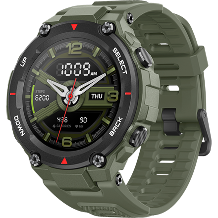 Amazfit T-Rex Smart watch, GPS (satellite), AMOLED Display, Touchscreen, Heart rate monitor, Activity monitoring 24/7, Waterproof, Bluetooth, Army Green