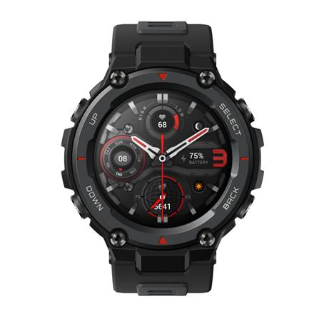 Amazfit T-Rex Pro Smart watch, GPS (satellite), AMOLED Display, Touchscreen, Heart rate monitor, Activity monitoring 24/7, Waterproof, Bluetooth, Meteorite Black