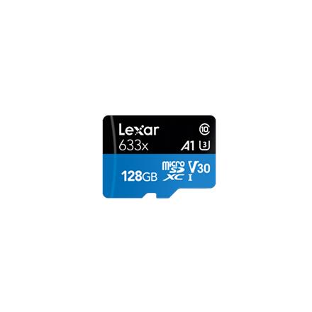 Lexar High-Performance 633x UHS-I micro SDXC, 128 GB, Class 10, U3, V30, A1, 45 MB/s, 100 MB/s