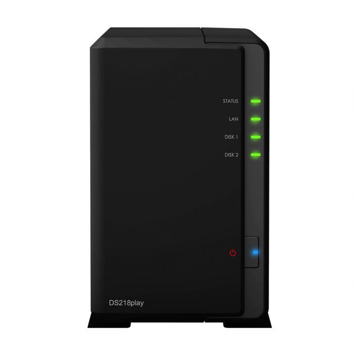 Synology Tower NAS DS218play up to 2 HDD/SSD Hot-Swap, Realtek RTD1296 Quad Core, Processor frequency 1.4 GHz, 1 GB, DDR4, RAID 1,Hybrid, 1x1GbE, 2xUSB 3.0, Single Fan