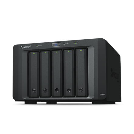 Synology Tower NAS Expansion Unit DX517 up to 5 HDD/SSD Hot-Swap (drives not included), Internal AC 100-240V Universal, 50/60 Hz, 1x eSATA, Dual Fan