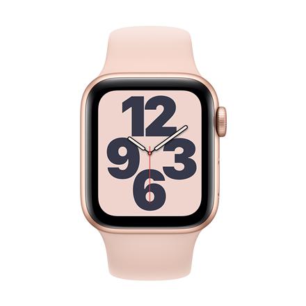 Apple Aluminium Case with Sport Band - Regular LT SE GPS + Cellular 40mm, Smart watch, GPS (satellite), LTPO OLED Retina, Touchscreen, Heart rate monitor, Waterproof, Bluetooth, Wi-Fi, eSIM, Gold/Pin