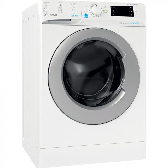 INDESIT Washing machine with Dryer BDE 861483X WS EU N Energy efficiency class D, Front loading, Washing capacity 8 kg, 1351 RPM, Depth 54 cm, Width 59.5 cm, Display, Drying system, Drying capacity 6