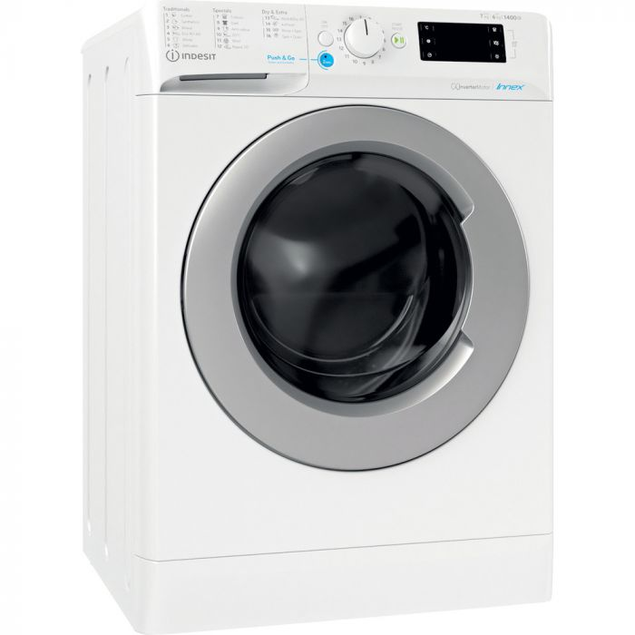 INDESIT Washing machine with Dryer BDE 761483X WS EE N Energy efficiency class D, Front loading, Washing capacity 7 kg, 1351 RPM, Depth 54 cm, Width 59.5 cm, Display, Drying system, Drying capacity 6