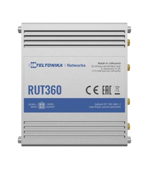 Teltonika Industrial Cellular Router RUT360 LTE CAT6 1 x LAN ports, 10/100 Mbps, compliance with IEEE 802.3, IEEE 802.3u standards, supports auto MDI/MDIX crossover Mbit/s, Ethernet LAN (RJ-45) ports