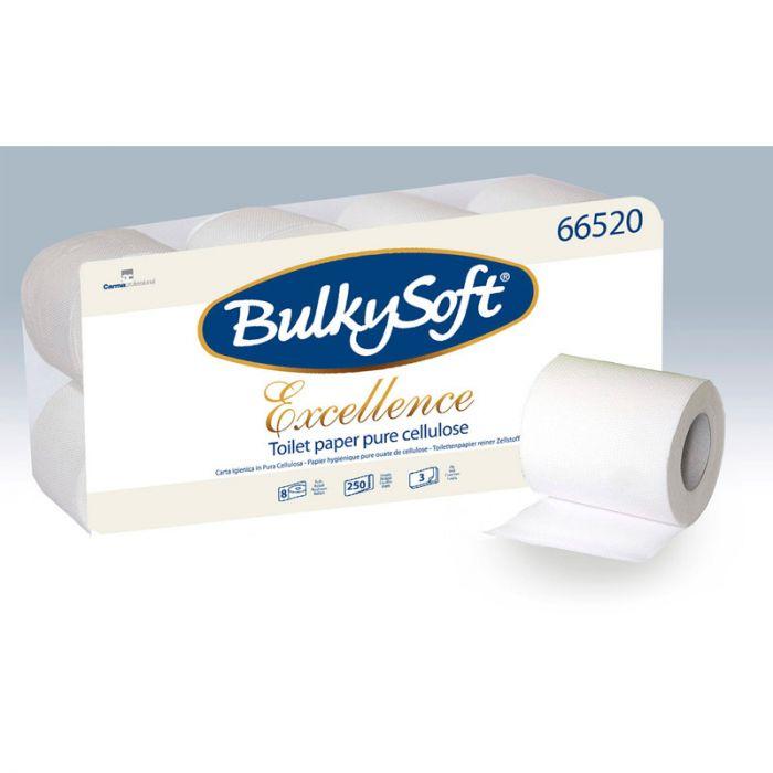 Tualettpaber BulkySoft Excellence <br>3-kihiline 8 rulli/pk (28,75m/rullis(
