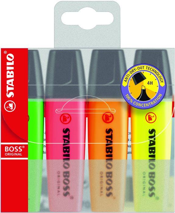 Helestusmarker 2-5mm, 4 värvi/kompl  Stabilo BOSS 70