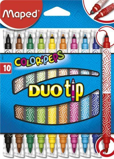 Viltpliiatsid Color Peps Duo Tip 10tk=20tk. (2mm ja 3,9mm) pestav, Maped
