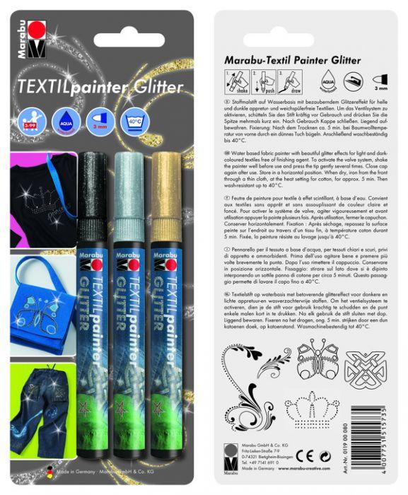 Marker tekstiilile glitter 3mm 3tk. pakis