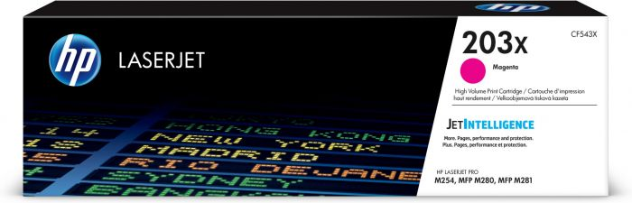 Tooner HP CF543X 203X Magenta 2500pg for Color LaserJet Pro M254, MFP M280/M281