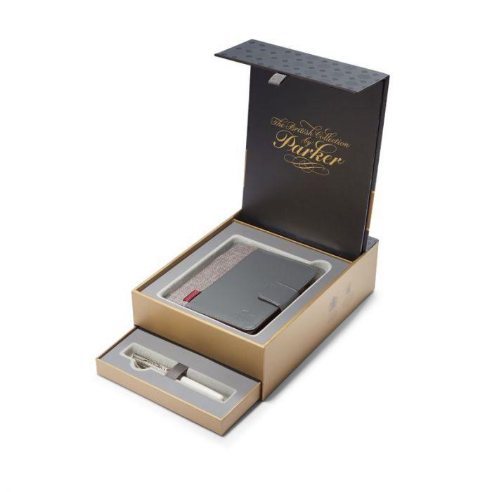 Kinkekomplekt Parker Sonnet Metal&Pearl CT 18k + Notebook,sulepea+märkmik