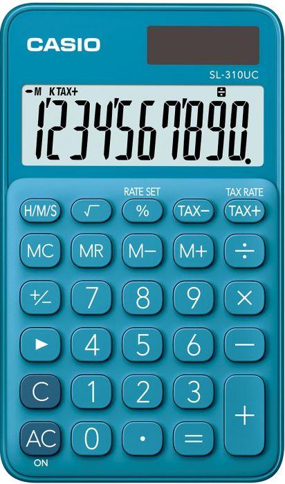 Taskukalkulaator Casio SL-310UC Blue/sinine - 10 kohaline, tava- ja päikesepatarei, 50gr, 8x70x118mm, kaasas ümbris, Casio loogika