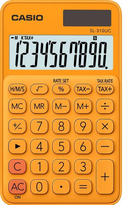 Taskukalkulaator Casio SL-310UC Orange/oranž - 10 kohaline, tava- ja päikesepatarei, 50gr, 8x70x118mm, kaasas ümbris, Casio loogika