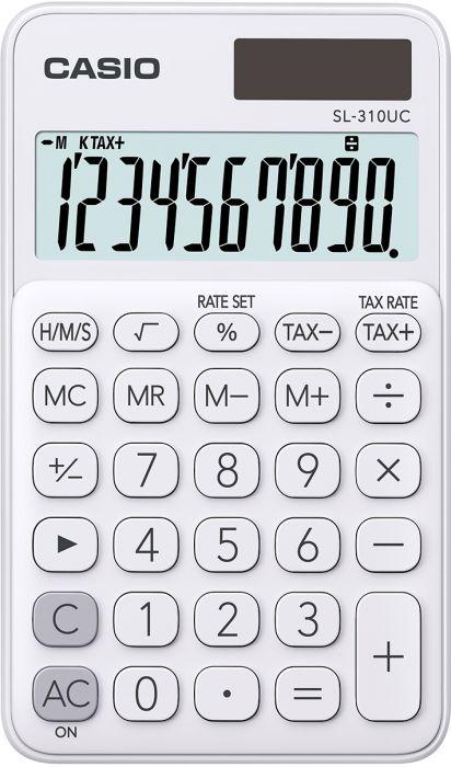 Taskukalkulaator Casio SL-310UC White/valge - 10 kohaline, tava- ja päikesepatarei, 50gr, 8x70x118mm, kaasas ümbris, Casio loogika