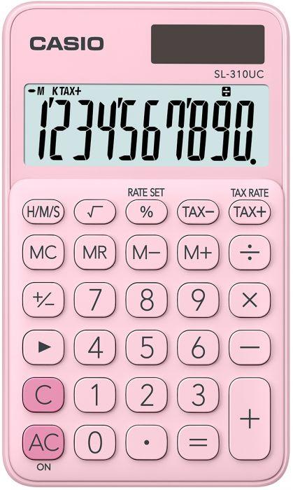 Taskukalkulaator Casio SL-310UC Pink/roosa - 10 kohaline, tava- ja päikesepatarei, 50gr, 8x70x118mm, kaasas ümbris, Casio loogika
