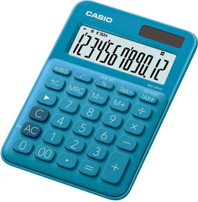 Lauakalkulaator Casio MS-20UC-Blue - 12 kohaline, tava- ja päikesepatarei, 110gr, 23x106x150mm, Casio loogika